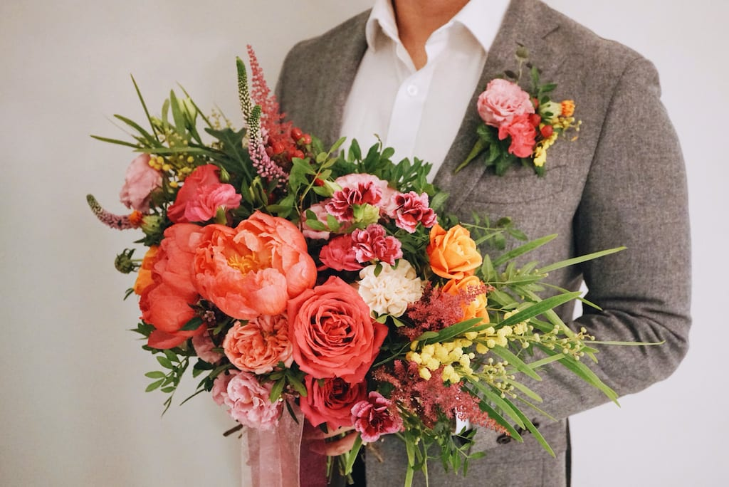 Wedding bouquet and corsage by The Bloomish Eden